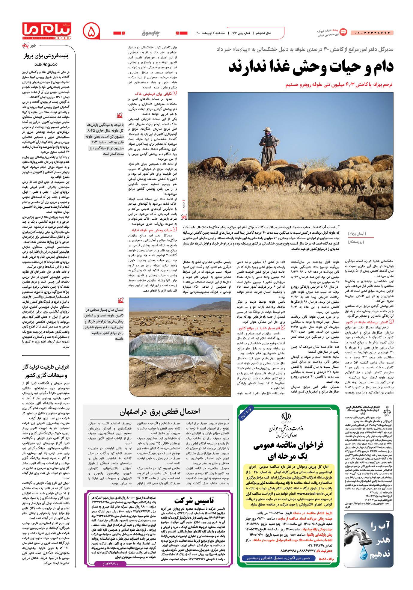 صفحه چارسوق شماره ۱۹۹۶ روزنامه پیام ما