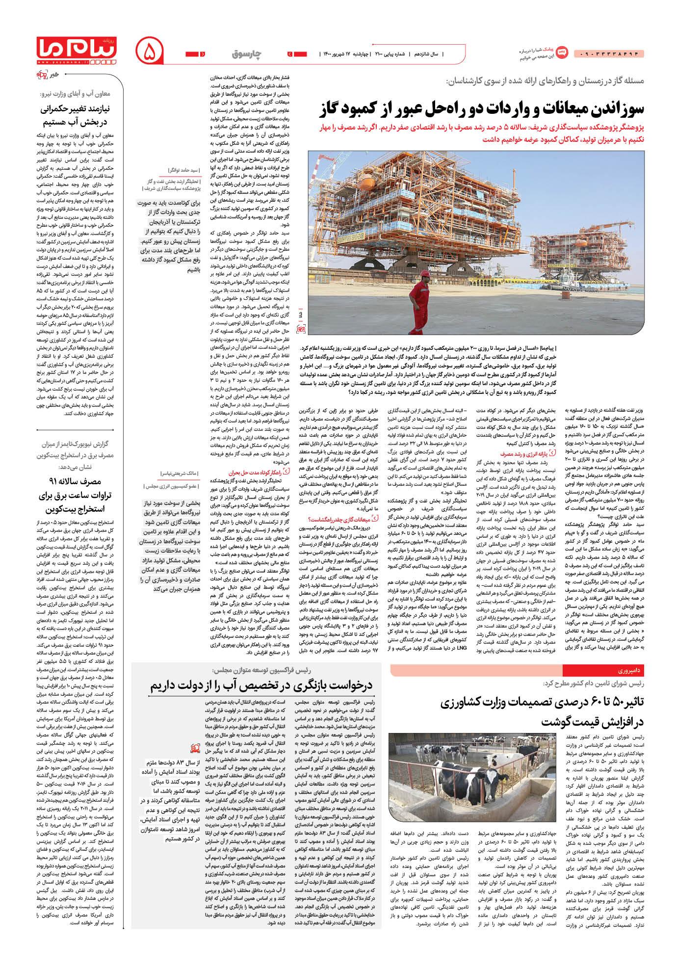 صفحه چارسوق شماره 2100 روزنامه پیام ما