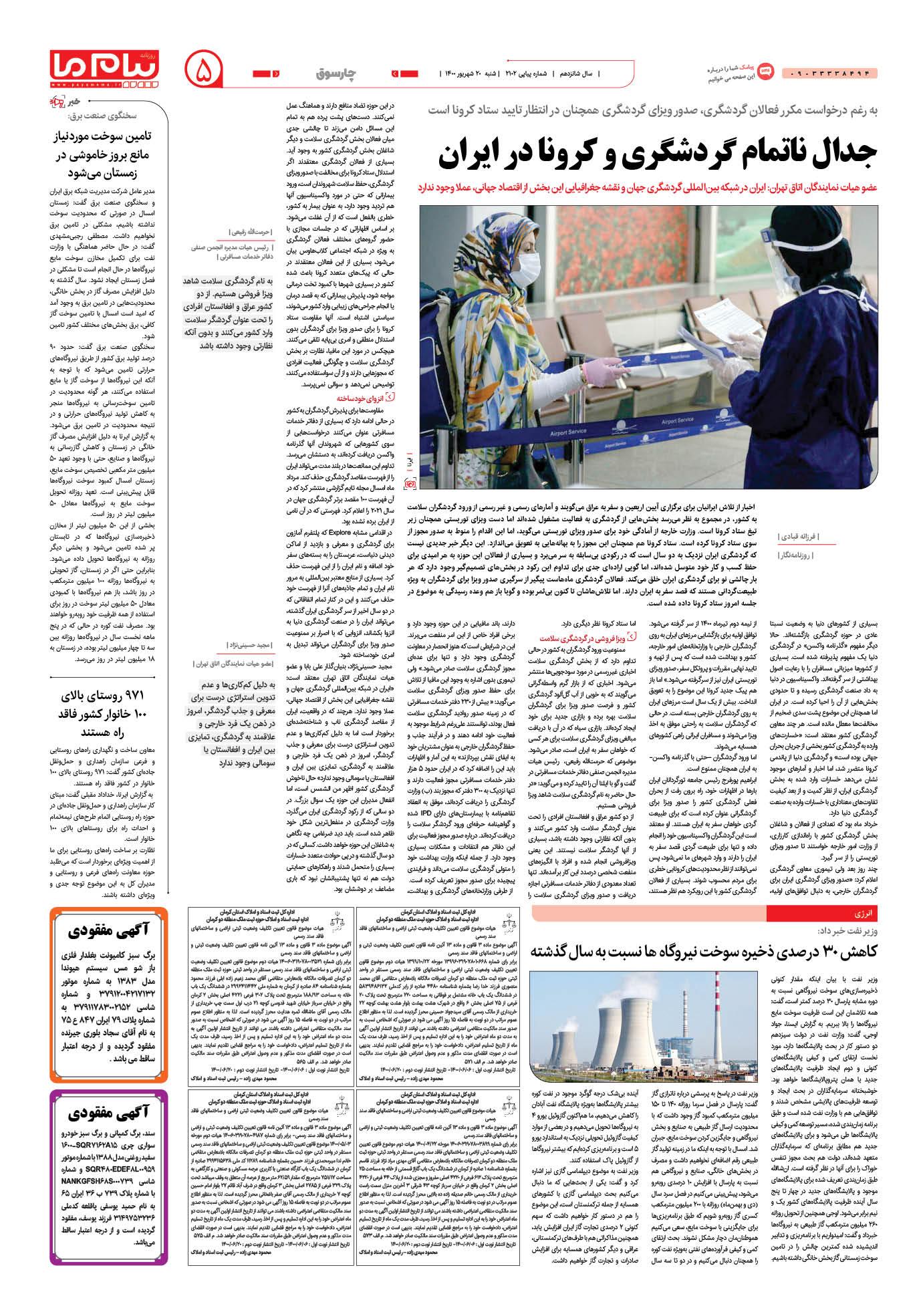 صفحه چارسوق شماره 2102 روزنامه پیام ما