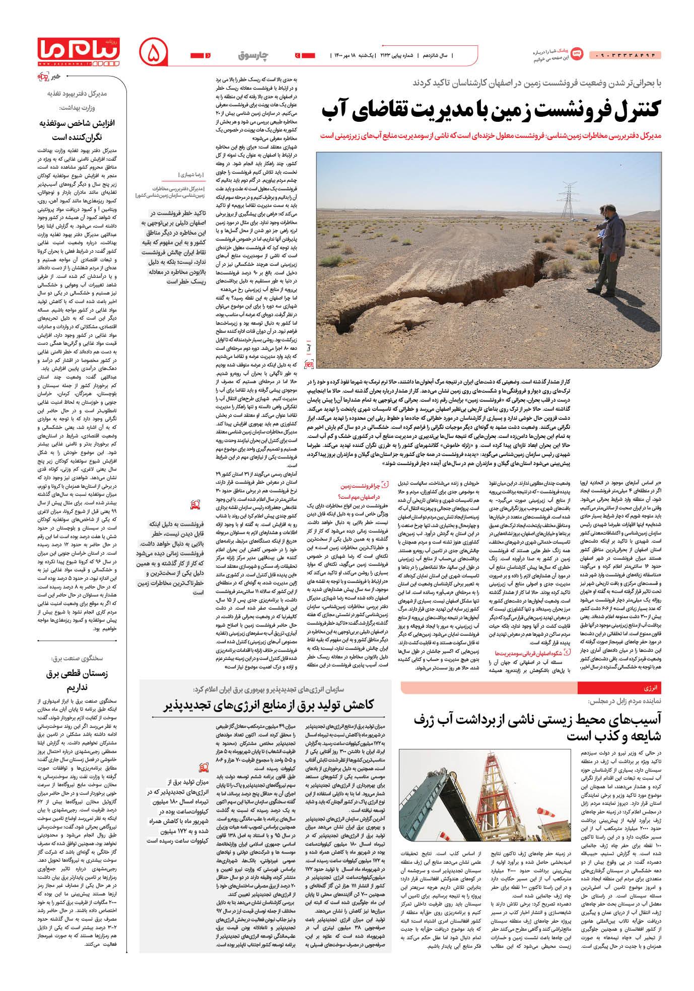 صفحه چارسوق شماره 2123 روزنامه پیام ما